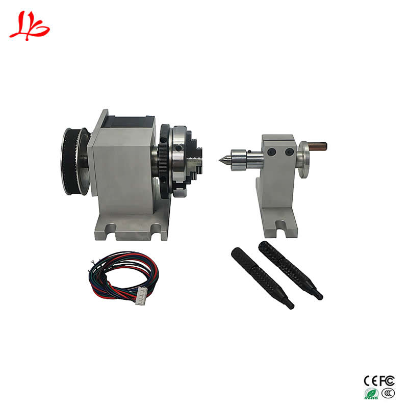 65MM 3 Jaw Chuck Cnc Rotary Axis Dividing Head With Activity Tailstock Center Height 54MM