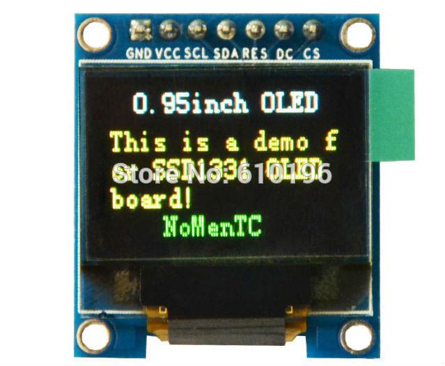 0.95 polegada OLED Colorido Módulo SSD1331 Resolução 96X64 para 51 STM32 Arduino