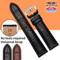 Aotu 18mm 20mm 22mm 23mm venda de reloj de cuero de becerro genuino con cierre rápido la barra de resorte de omega tissot seiko + herramientas