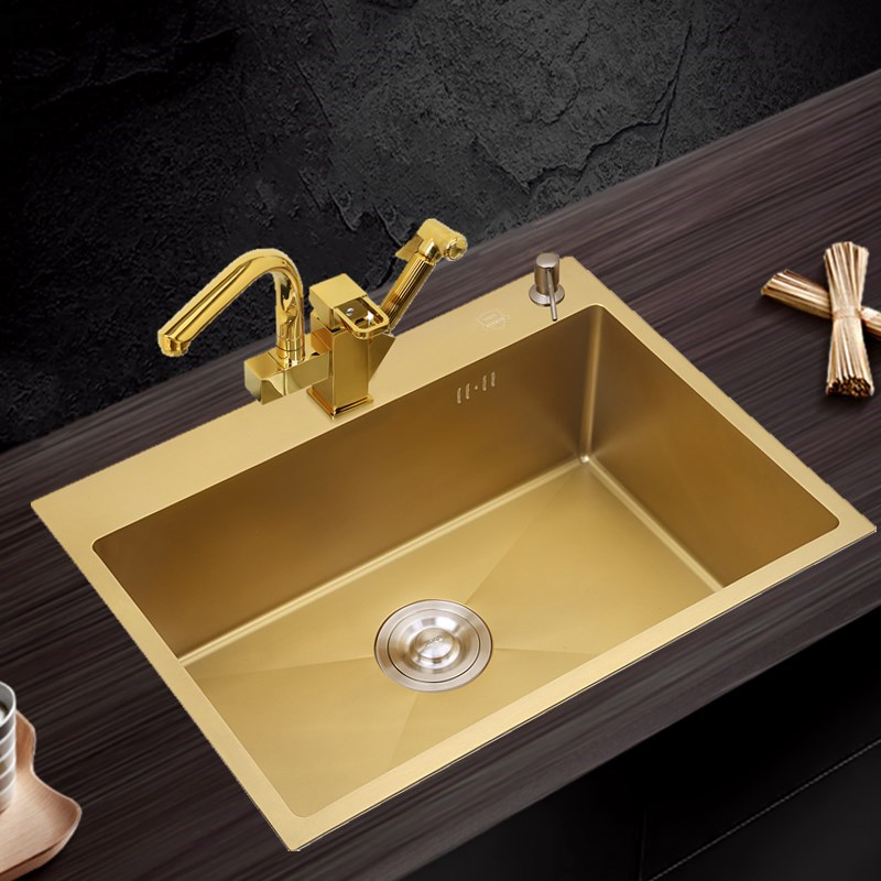 Gold kitchen sink 304 Stainless Steel single bowl above ...