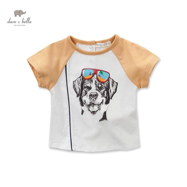 DB3047 дэйв белла лето мальчик хлопка майка детская одежда ковылять собака отпечатано тис мальчики топы дети футболку