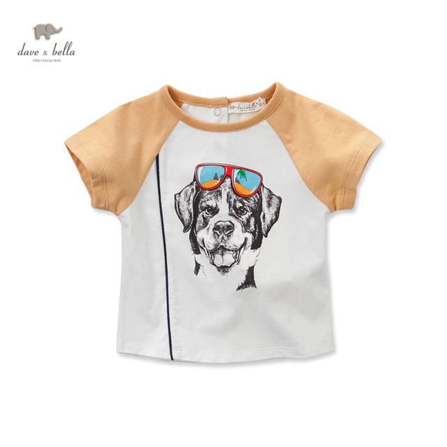 DB3047 dave bella bebê verão camiseta de algodão menino roupas infantis toddle cão impresso tees meninos tops crianças t-shirt
