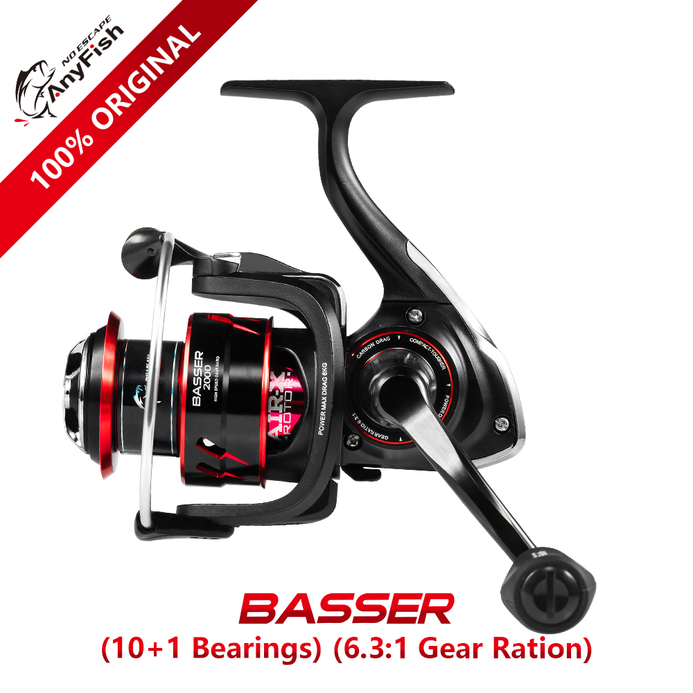 Anyfish 100% original BASSER 2000/3000/4000/5000/6000 Spinning Fishing Reel Gear Ratio 6.3:1 Max Drag 6kg/8kg 10+1 bearings