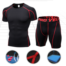 Quick Dry Compression Suits Short Sleeve Shirt+Shorts Mens Running Set Fitness Tight Sport Suit Men Outdoor Jogging Sportswear