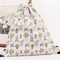 Cartoon Women Cotton Canvas DrawString Bag Sack Package Cactus Printing Backpack For Children Beach Bag Travel Shoes Storage Bag