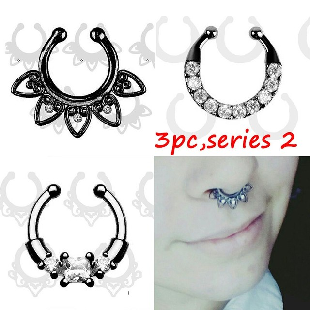 Crystal Black Fake septum Piercing nose ring Hoop For Women Body Jewelry 2