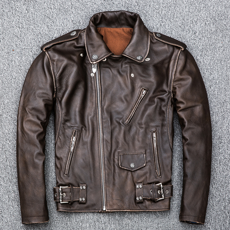 MAPLESTEED Brown Distressed Motorcycle Jacket Men 100% Calf Skin Classic Slim Leather Jacket Man Moto Biker Coat Winter 5XL M190