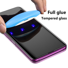 Nano Liquid UV Full Glue Tempered Glass For Samsung Galaxy Note 8 9 Screen Protector For Samsung S8 S9 Plus S7 Edge With UV Ligh