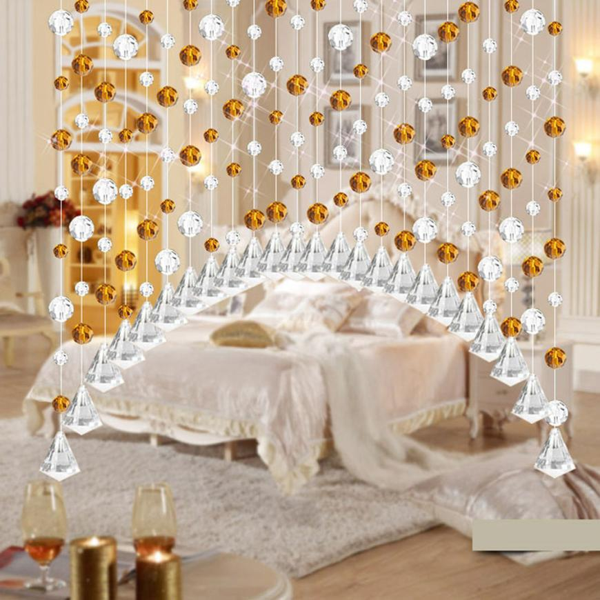 DIVV High Quality Luxury Glass Beads Door String Tassel Curtain Wedding Divider Panel Room Decor Drop Shipping ap0117