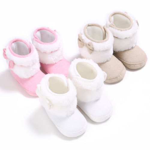 Newborn Baby Infant Toddler Boy Girl Boots Crib Shoes Bow Prewalkers