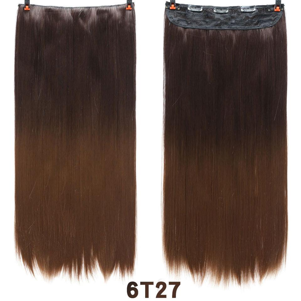 SHANGKE волосы 24 ''длинные прямые женские волосы на заколках для наращивания черный коричневый высокая температура Синтетические волосы кусок - Цвет: 1B/30HL