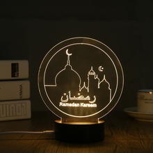1 Piece USB Powered Creative 3D EID Mubarak LED Night Light 3D Ramadan Mubarak Desk Light For Eid al-Fitr Party Decoration Light