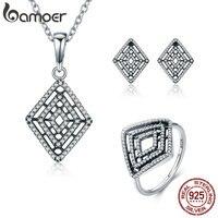 BAMOER Genuine 100 925 Sterling Silver Geometric Lines Clear CZ Earrings Necklace Jewelry Set Sterling Silver