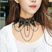Ahmed Jewelry Europe and the United States selling fashion exaggerated lace with black gem Pendant of choker necklace for women(China)