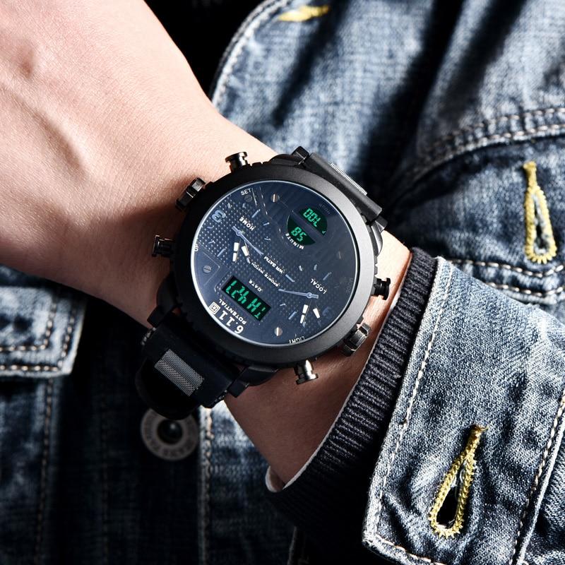6.11 Watch Men Sport Quartz Dual Display Watches Multiple Time Zone Casual Silicone Strap Male Clock Relogio Masculino reloj