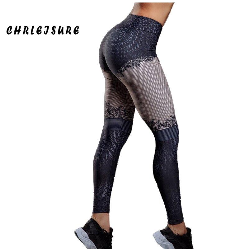 CHRLEISURE Casual Impression Leggings Femmes 2018 Nouvelles Polyester Haute Taille Jeggings Splice Mince Respirant Remise En Forme de Fille Legging
