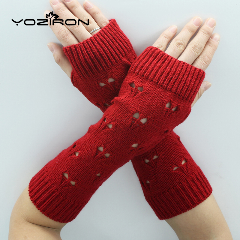 YOZIRON Fashion Hear-Shape Women Arm Warmers Winter Knit Long Sleeves Gloves For Woman Girls Lover Shape Fingerless Gloves