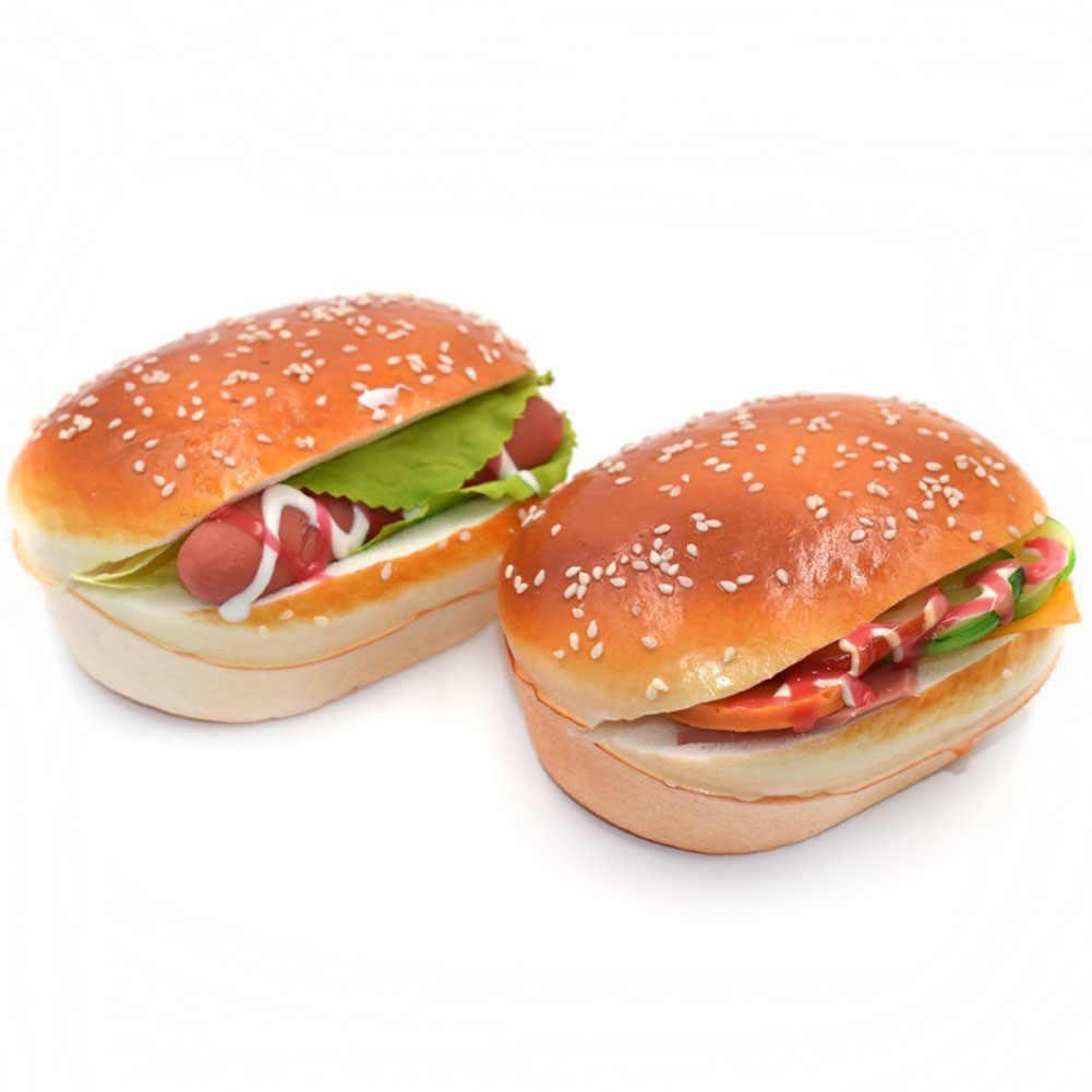 2 uds. Hamburguesa con pan Artificial, Hamburguesa de sésamo atractiva, adornos de fiesta doméstica, imán para nevera, juguete decorativo