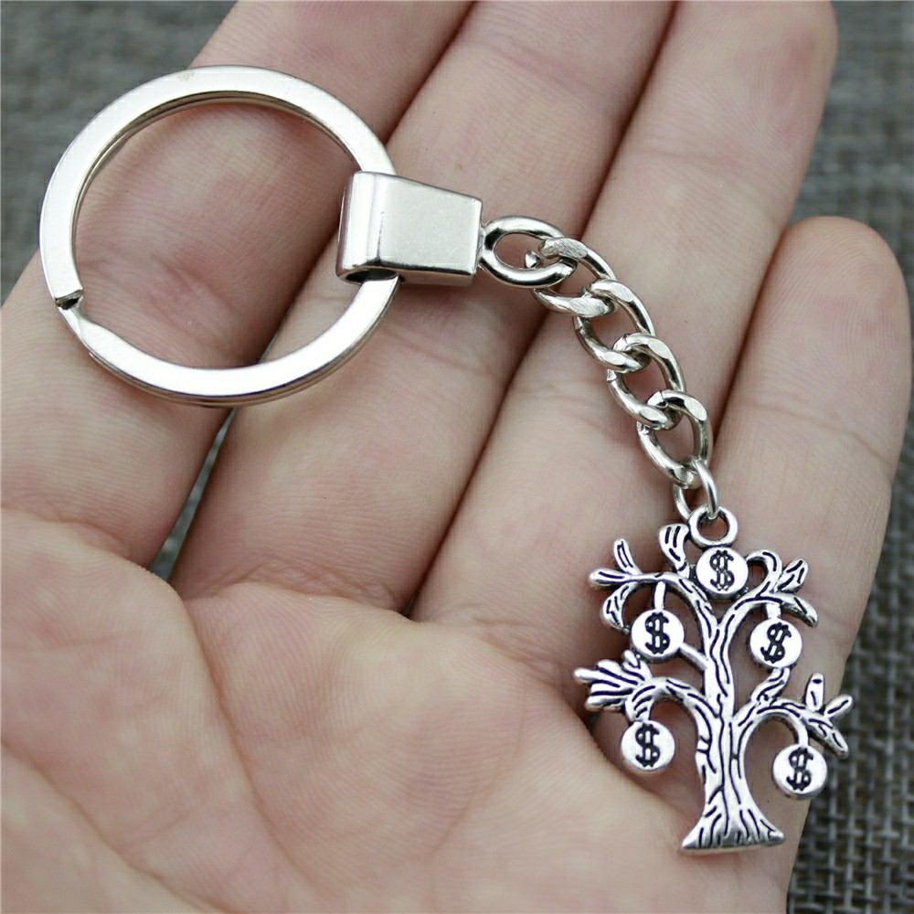 29x22mm Money Tree Keychain Antique Silver Fashion Handmade Keychain Party Gift Jewelry Dropshipping