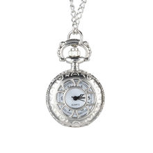Quartz Pocket Watch Alloy Chain Hollow Out Flower Flip Cover Vintage Pendant Watches for Women KNG88(China)