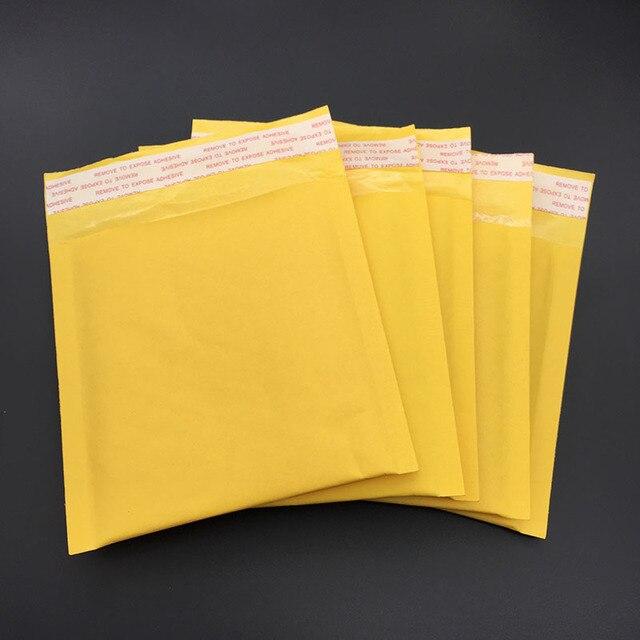 5pcs (13 * 13 + 4cm) Yellow Kraft Paper Bubble Mail Envelope Bag Bubble Postage Packing Envelope Packing Transportation Bag