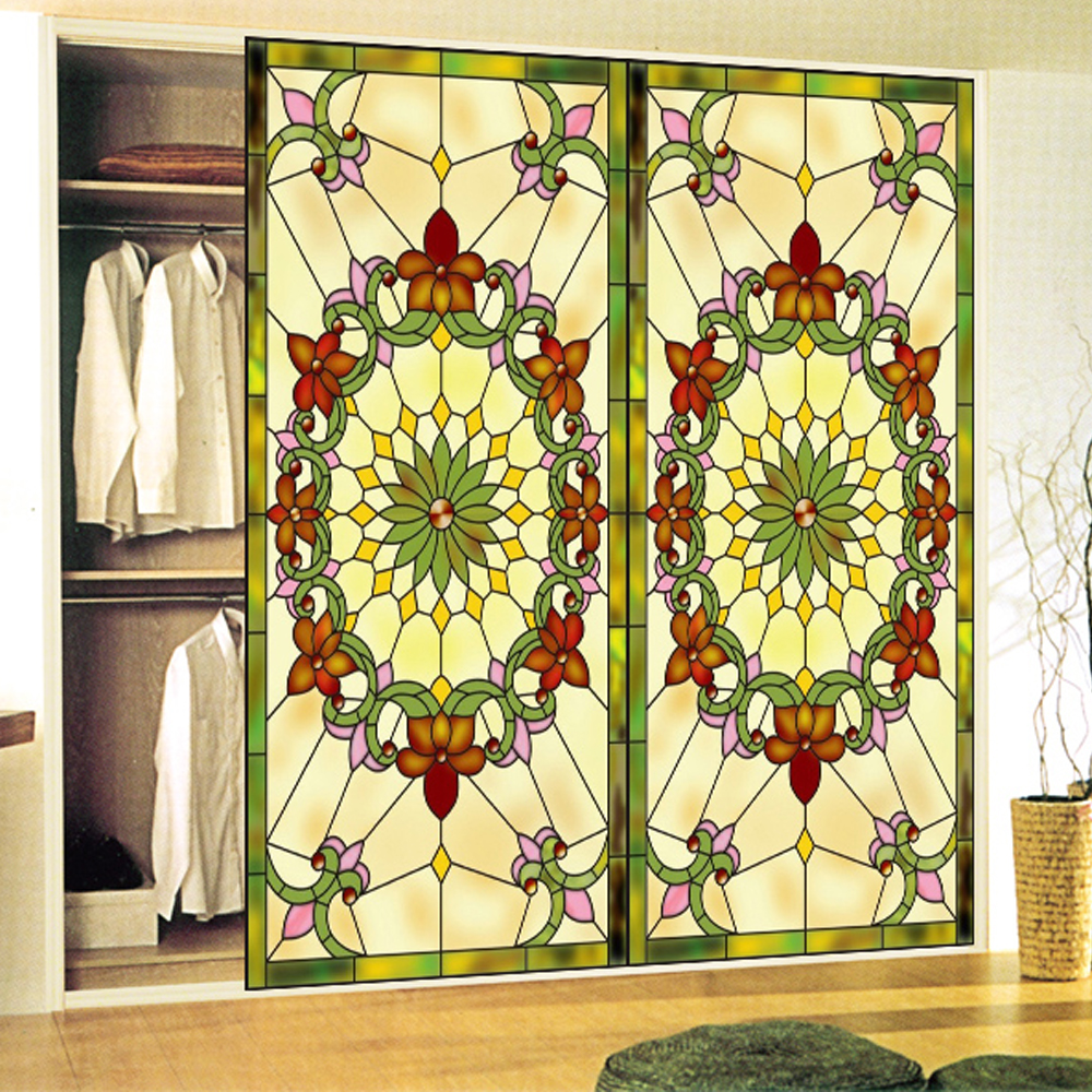 yazi Customized Size Yellow Flower Opaque Window Film Removable Art Vinyl Wallpaper Wall Sticker Decal Mural Home Room Decor