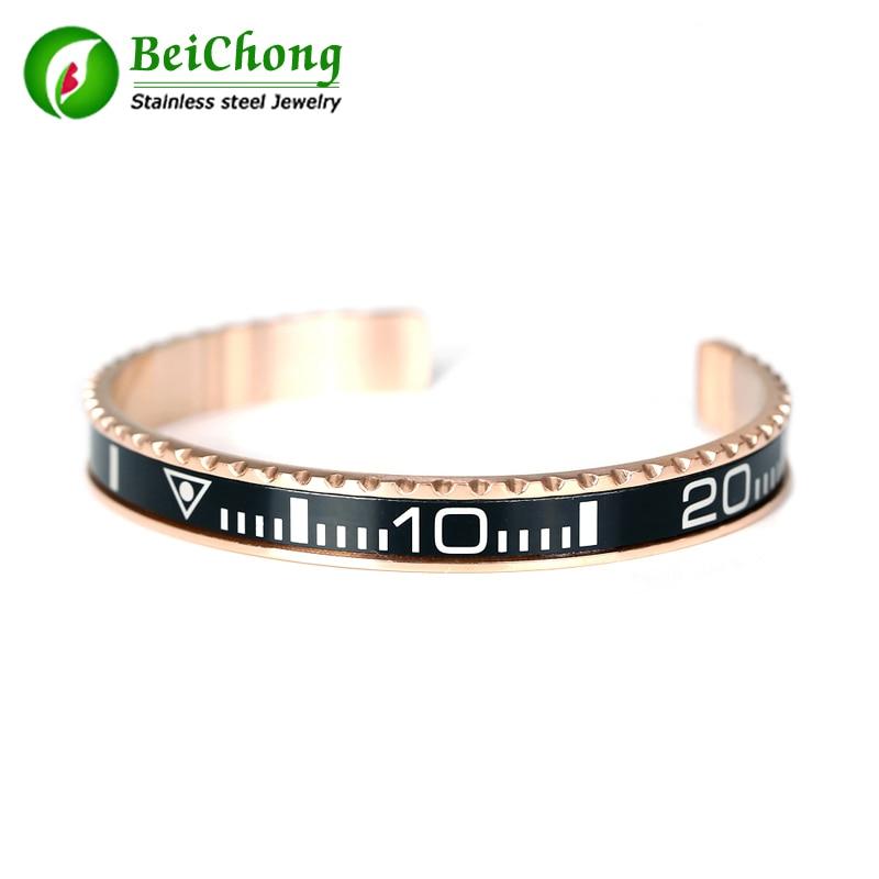 Velocímetro oficial brazalete color de rosa de calidad superior 316L tungsteno de acero inoxidable brazalete para hombres
