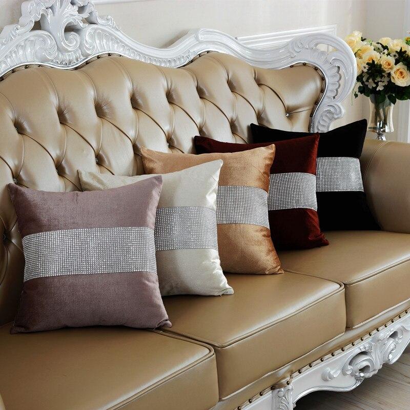 キラキラダイヤモンドラインストーン枕カバー高級ベルベット枕カバーレトロヴィンテージストライプホワイト枕カバー寝室ホーム装飾