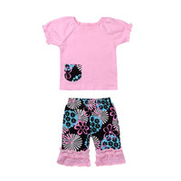 2PCS Little Kids Baby Girls Clothes With Pocket T-shirt Short Sleeve Tops Foral Pants Outfits Cotton Baby Clothing Set