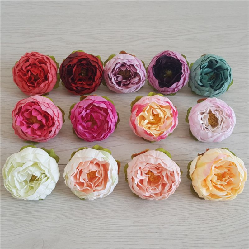 5Pcs/Pcak Peony Artificial Flowers Fake Peony Flower Head for Home Wedding Party Decor thumbnail