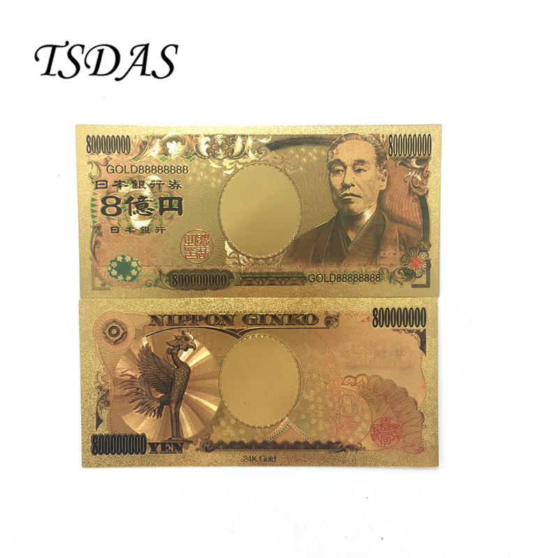 NEW Japan Gold Banknote 800 Million Yen Banknote 10pcs/lot Japan Gold Foil Bank Notes Currency ...