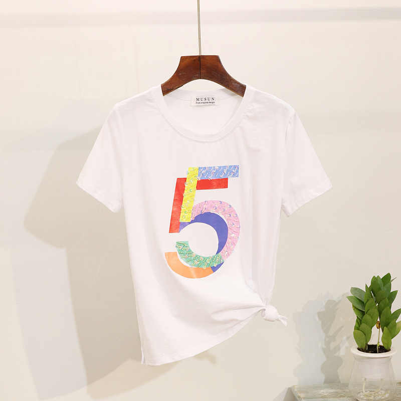 Women 2 Piece Outfits 2019 Summer New Fashion Harajuku Beaded Print Female T-shirt + Elastic Waist Denim Jeans Women 2 Piece Set