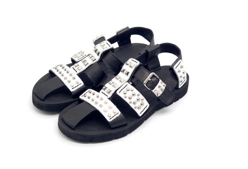 Bezaaid Romeinse schoenen Europese en Amerikaanse straat bruin lederen hand bezaaid mannen sandalen - 6