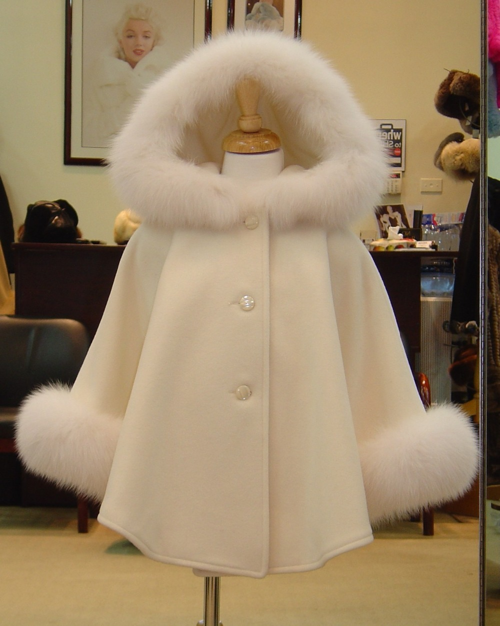 hot sale for winter or autumn real fox fur trim cuffs and hood cashmere pashmina hot sale cayler