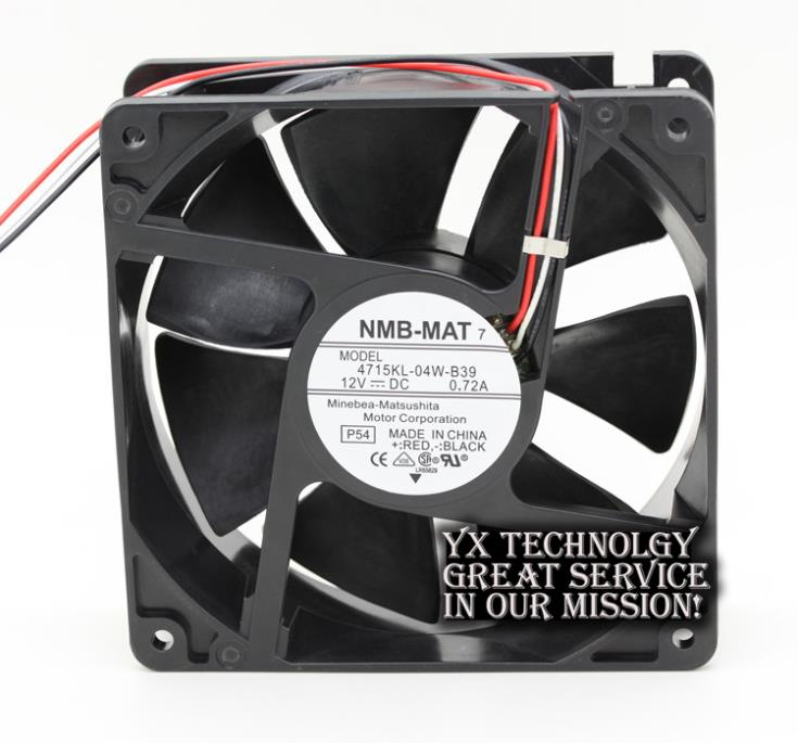 New and  Original 4715KL-04W-B39 12v 12038 12cm 0.72A dual ball bearing fan for NMB 120*120*38mm delta afb1212hhe 12038 12cm 120 120 38mm 4 line pwm intelligent temperature control 12v 0 7a