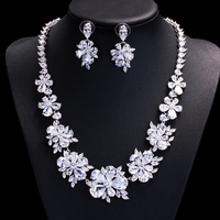 HIBRIDE Jewelry Luxury Design Cubic Zirconia Flower Shape Pendant Necklace/Earrings Rhodium Plated Jewelry Sets For Women N 81