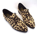 fashion vintage women horsehair Pointed Toe Leopard oxford shoe Loafer lady Flat Shoes