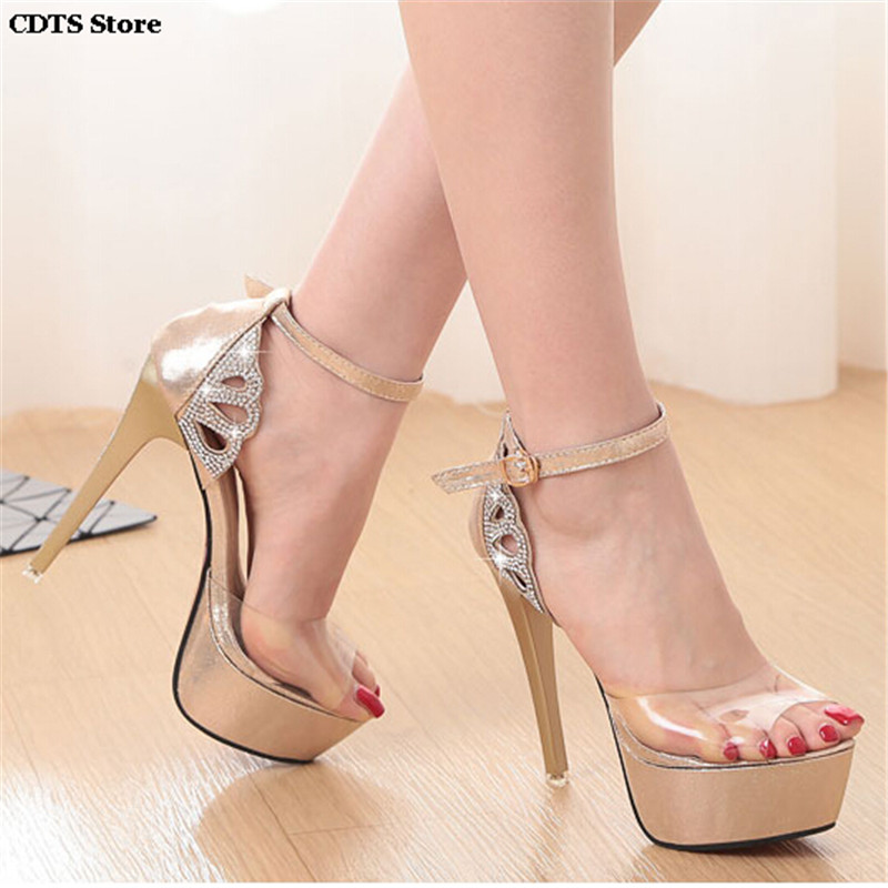 ФОТО CDTS zapatos mujer Summer crystal Ankle Strap Sandals Rhinestone high-heeled 14cm thin heels open toe shoes women's wedding Pums