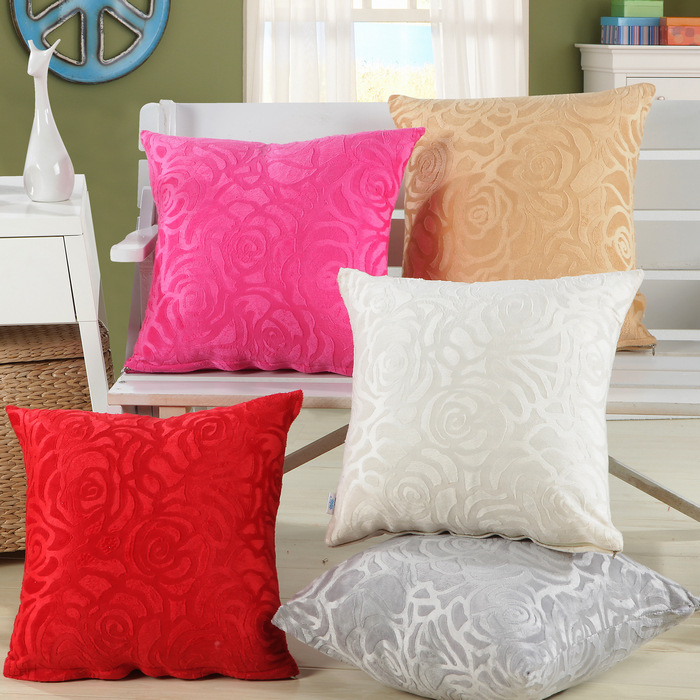 1Pcs 43*43cm Soft Short Velvet Rose Flower Pattern Throw Pillow Cushion Cover Seat Car Home Sofa Bed Decorative Pillowcase 40049