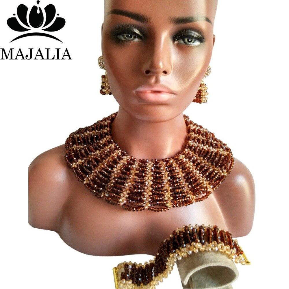 купить Majalia Classic Nigerian Wedding African Jewelry Set Brown and Gold ab Crystal Necklace Bride Jewelry Sets 10SX023 по цене 3709.03 рублей