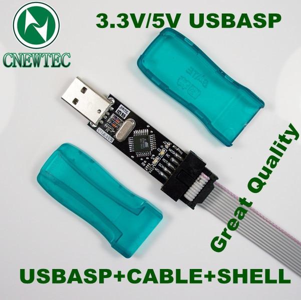 FREE SHIPPING 1LOT Great quality Shell New USBASP USBISP AVR Programmer USB ATMEGA8 ATMEGA128 Support Win7 64K