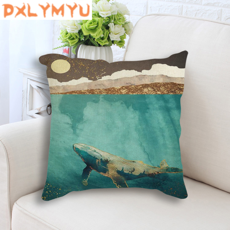 Square Throw Pillow 45x45cm Abstract Landscape Mountain Deer Whale Nordic Cushion Back Seat Linen Cushion Sofa Home Decor