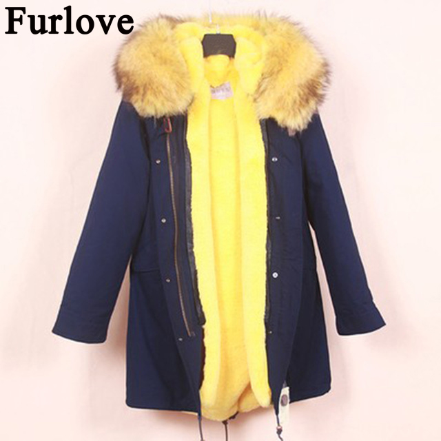 Furlove New Arrival Fur Parka 2017 Long Women Winter Coat Real Raccoon Fur Jacket Luxury Large Detachable Collar Parka Femme 2017 winter new clothes to overcome the coat of women in the long reed rabbit hair fur fur coat fox raccoon fur collar