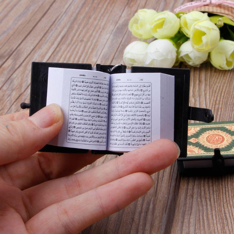 Image 3 - Mini Ark Quran Book Real Paper Can Read Arabic The Koran Keychain Muslim JewelryKey Chains