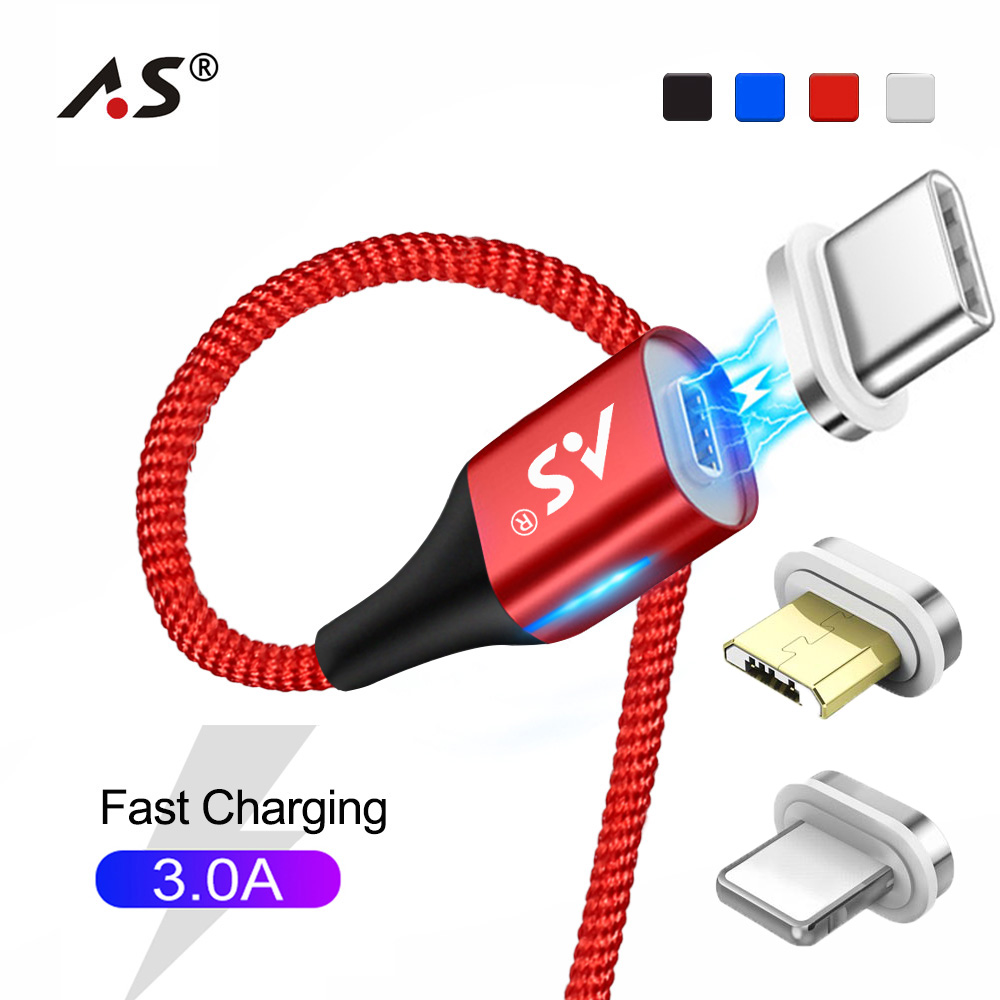A.S 3A Magnetic USB Cable for iPhone <font><b>Type</b></font> <font><b>C</b></font> Magnet Quick <font><b>Charger</b></font> Data Charge Micro USB Cable For iOS Android Mobile Phone Cables image