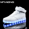 Brand Men lantern high Top Shoes White Black RED 7 Colors luminous shoes LED glow shoe male USB rechargeable light shoes DD-63