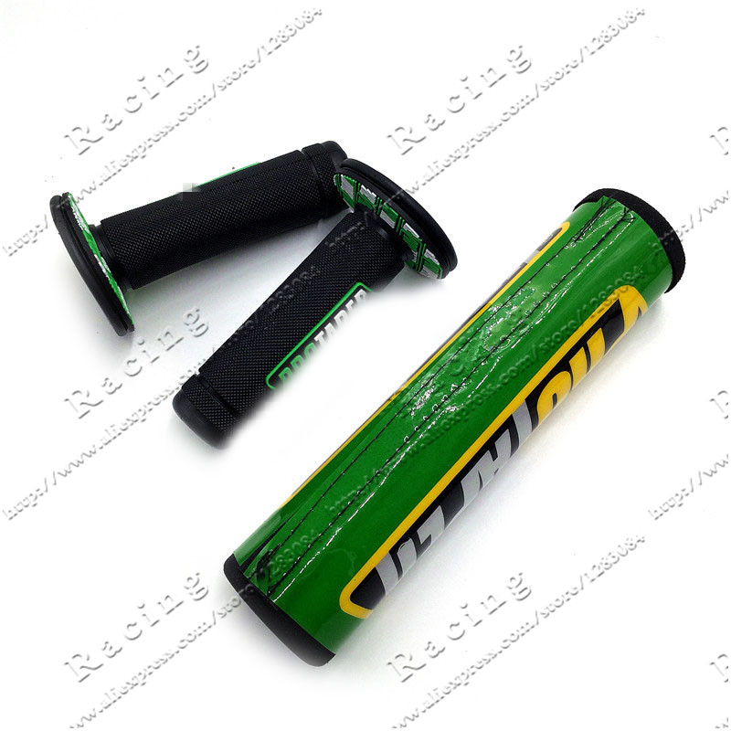 Green Handlebar Bar Pad + Gel Grips For PRO TAPE KX125 KX250 KX250F KX450F KLX450 KX65 KX85 KX500 Dirt Bike Motocross Enduro MX