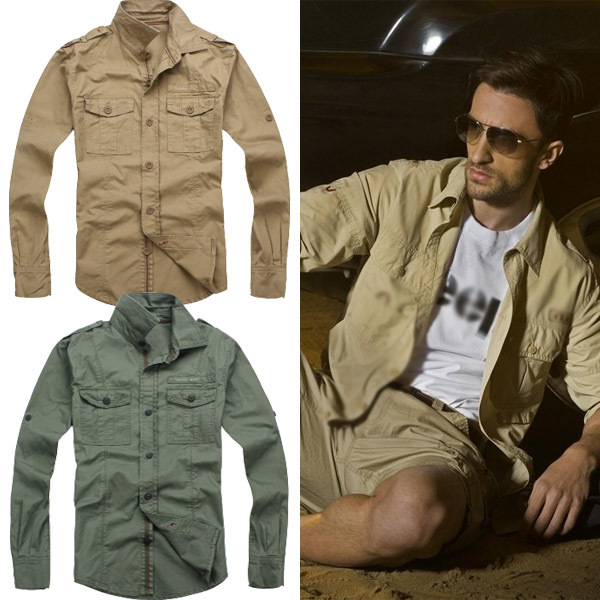 Free shipping men's clothing male long sleeve shirt outdoor ...
