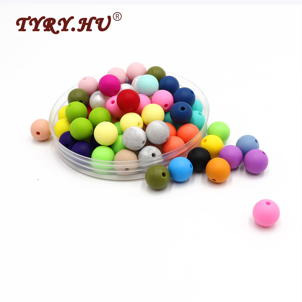 100pc Silicone Baby Teether Beads 9mm 12mm 15mm BPA Free Infant Car Hanging Baby Stroller Accessories Pacifier Clips DIY Crafts