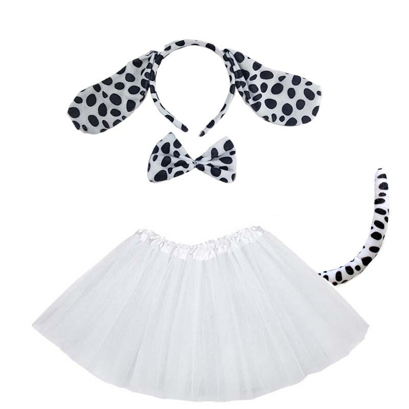 Purim Dalmatian Black Dog Ear Costume Party Cosplay Set Halloween Costumes For Kids Baby Shower Birthday For Women Children